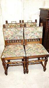 Wunderschön Antik Gründerzei 4 Stühle Mit Gobelinstoff Bezug