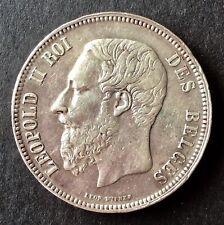 Belgique - Léopold II - Très Jolie monnaie de 5 Francs 1868 - Position B - rare