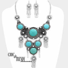 WESTERN TURQUOISE HOWLITE STONE VERY CHUNKY NECKLACE FASHION JEWELRY SET TRENDY