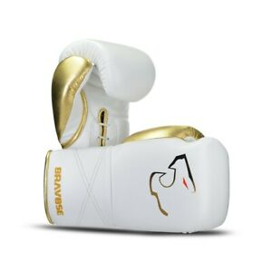 Elite Pro White lace up. Premium Quality Real Leather Boxing Gloves for Bag & Sp