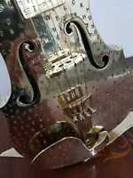 Metal art Brass Violin Polished Handicraft Artizan Sculpture Stamped Letters