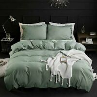 DCP Queen Washed Cotton Duvet Cover Set,Quilt Bedding Cover Pea Green 3Pcs