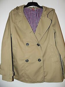 """H&M Camel Beige Cotton Hooded Jacket Size 10-12 Bust 38"""" Spring Summer"""