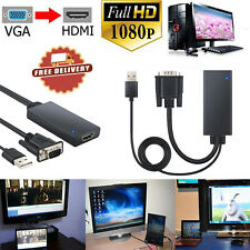 1080P VGA to HDMI Adapter Converter With Audio+2-in-1 USB Supports PC/Laptop