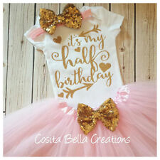 Half birthday outfit,pink and gold half bodysuit,pink glitter, Handmade