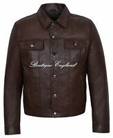 'TRUCKER' Men's BROWN Classic Western Real NAPA SOFT Leather Jacket 1280