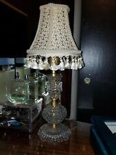 Antique Clear Glass Hobnail Table Lamp With Custom Shabby Shade