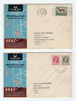 BOAC & SAA 1957 flight covers x 2 London to South Africa