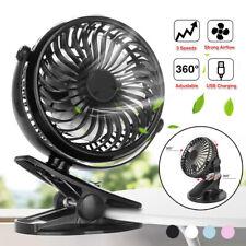 USB Rechargeable Mini Clip Desktop Table Fan Baby Stroller Portable Cooling Fan