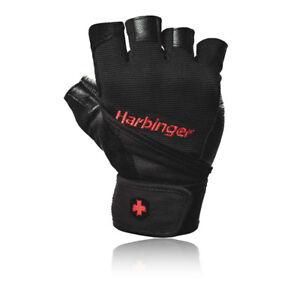 Harbinger Unisex Black Red Pro Wristwrap Gloves Double Leather Palm