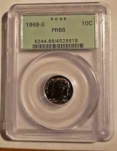 1968 S Roosevelt Dime PCGS PR68 Old Green Holder