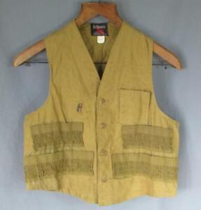 Vintage 1950s JC Higgins Hunting Shooting Vest Canvas Khaki Dark Tan Sportsman M