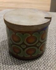 Vintage Hornsea 'Bronte' 1976 Small Preserve Jam Pot Covered Sugar Wooden Lid