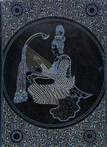 BURMESE LACQUERWARE PICTURE~HAND ENGRAVED WALL ART~LADY W/BOAT HARP/SAUNG~13 X 9