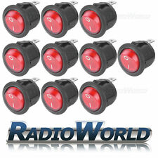 10x 250v ON/OFF Illuminated RED Round Rocker Switch /Car dash / light Boat Van