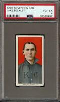 Rare 1909-11 T206 HOF Jake Beckley Sovereign 350 Kansas City PSA 4 VG - EX