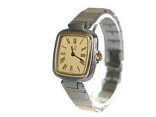 Auth Dunhill Millennium Gold Dial Stainless Steel Quartz Ladies Watch