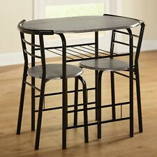 Black Metal Frame 3 Pc Dining Table Set Chairs Kitchen Nook Small Space Saver