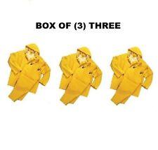 BOX OF (3) 3-PIECE HEAVY DUTY YELLOW RAINSUITS 35MM SIZE 2XL XXL RAIN SUITS NEW