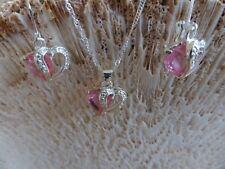 Schmuck Set silber 2 Ohrringe 1 Kette rosa Herzen NEU schönes Schnäppchen