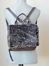 NWT VIA REPUBBLICA LAMBSKIN FUR SHEARLING LEATHER SUEDE BACKPACK BROWN ITALY