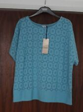 M&s Classic Sizes 14 16 18 20 Pure Cotton Broderie Anglaise Style Top Turq White Turquoise 14