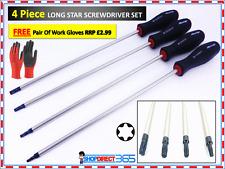4Pc Extra Long Star Torx Screwdriver Set T15 T20 T25 T30 x250mm Magnet tip 2899