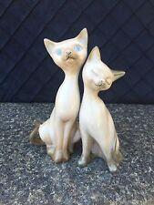 Siamese Cat Couple Statue Figure Vintage 7.5 inches