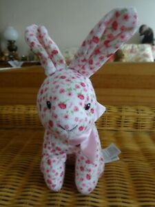 """Mothercare Pink Floral Bunny Rabbit Soft Toy/Comforter Sits 8"""" Tall inc ears."""