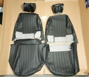New Front Seat Covers Seat Upholstery MG Midget 1970+ Black With Headrest Covers