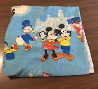 Vtg Walt Disney Frontierland Twin Flat Sheet Bedding Blue Mickey Mouse Fabric