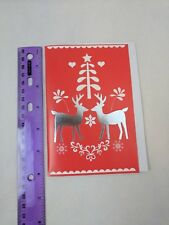 Paper Craft International Greetings Red White Christmas Card Silver Reindeer