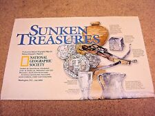 National Geographic July 2001 Map Sunken Treasures + Treasures of The World