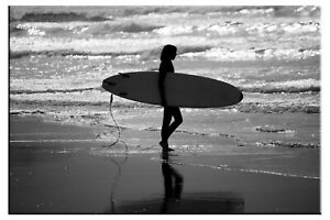 Surfer on Sunset Beach Waves Black and White Photo on Canvas Framed Home Decor