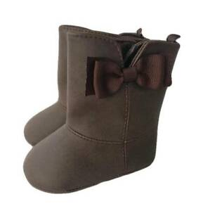 Baby Deer Chocolate Faux Leather Boot with Grosgrain Bow  Baby Size 0 1 2 3