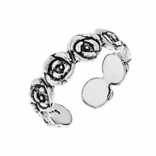 Silver Toe or Pinky Ring Love Unity Blooming Rose Sterling