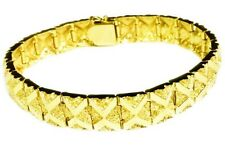 14kt Solid Yellow Gold Handmade Fashion Mens Nugget Bracelet 11 mm 42 grams 8