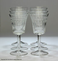 "Set of six ""Pall Mall""/Lady Hamilton pattern sherry glasses, etched/etched"