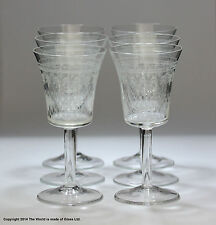 """Set of six """"Pall Mall""""/Lady Hamilton pattern sherry glasses, etched/etched"""