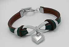"""7"""" Blue Green Teal Stainless Infinity Love Heart Leather Bracelet Toggle Clasp"""