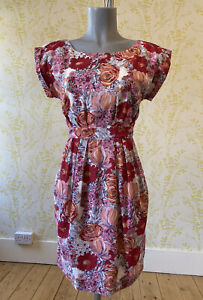 EMILY AND FIN red orange floral tea dress with pockets S 10 summer day dress