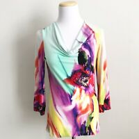 Joseph Ribkoff Floral Tunic Top Womens Sz 4 Colorful Print 3/4 Sleeve Cowl Neck
