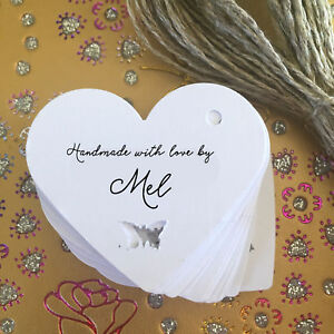 Personalised 'Handmade With Love By' Heart Shaped Tags - Crochet/Knitting/Craft