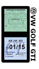 Porte vignette assurance Volkswagen Golf GTI double étui Stickers auto rétro