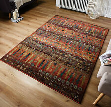 Gabbeh Tribal Rugs Multi Colour Blue and Rust Wool Look 120x180cm 415/C
