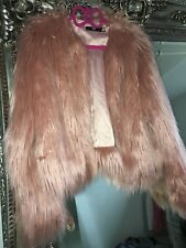 Missguided Shaggy Faux Fur Pink Blush Jacket Coat 6 Outerwear Festival