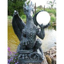 DRACHENLAMPE 80 cm Drachen Tier Figur Gothic Mystik Garten Deko Fantasy Skulptur