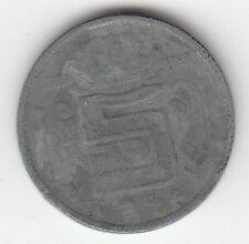 MONNAIE 5 FRANCS LEOPOLD III ZINC 1945
