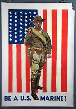 James Montgomery Flagg, BE A U.S. MARINE! Vintage WWI Poster 1918