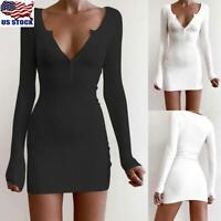 US Women Knitted Long Sleeve Mini Dress Ladies Button V Neck Party Bodycon Dress